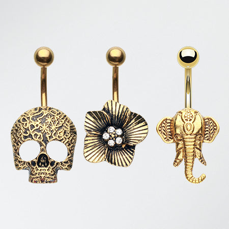 3 Pcs of Vintage Golden Non Dangle Belly Ring Pack-Gold