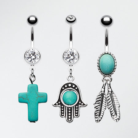 3 Pcs of Vintage Turquoise Dangle Belly Ring Pack-Blue/Aqua
