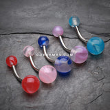 5 Pcs Assorted Marble Swirls Acrylic Belly Button Ring-Rainbow/Multi-Color