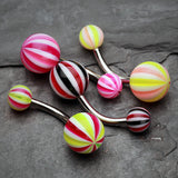 4 Pcs Assorted Candy Stripe Acrylic Belly Button Ring-Rainbow/Multi-Color