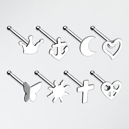 8 Pcs of Dainty Icon Essential Nose Stud Ring Pack-Steel