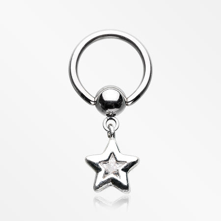 Sparkle Star Dangle Captive Bead Ring-Clear