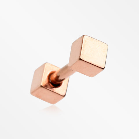 Rose Gold Square Cartilage Tragus Barbell