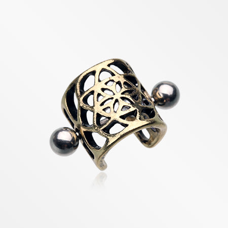 Vintage Golden Flower of Life Cartilage Ear Cuff-Gold