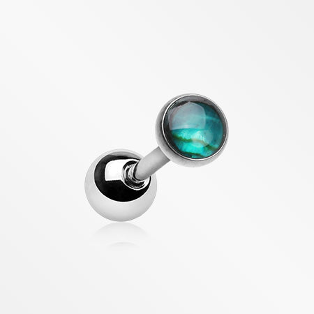 Iridescent Abalone Top Cartilage Tragus Barbell-Green