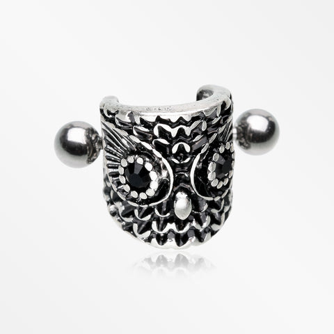 Antique Forest Onyx Owl Sparkle Cartilage Cuff Earring-Black