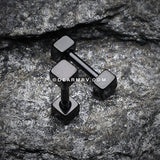 Blackline Square Cartilage Tragus Barbell-Black