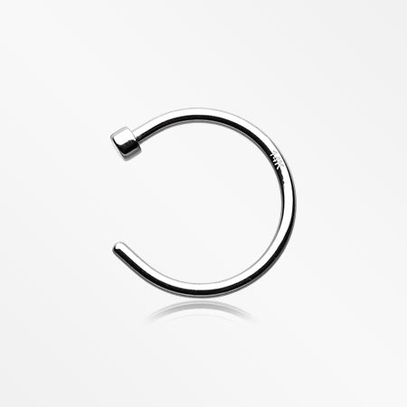 14 Karat White Gold Nose Hoop Ring-Steel