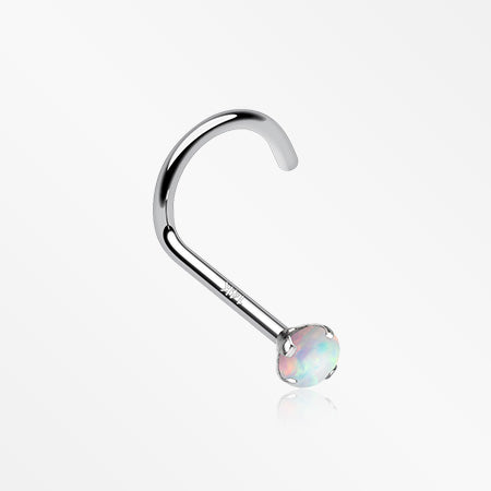 14 Karat White Gold Opal Prong Set Nose Screw Ring-White