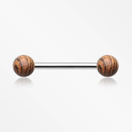 Organic Zebra Wood Nipple Barbell-Orange/Brown