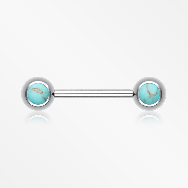 Turquoise Stone Nipple Barbell Ring-Blue/Aqua