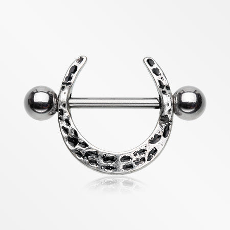 A Pair of Tribal Leopard Stirrup Nipple Shield Ring
