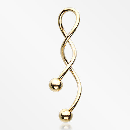 Golden Steel Twister Spiral Belly Button Ring-Gold