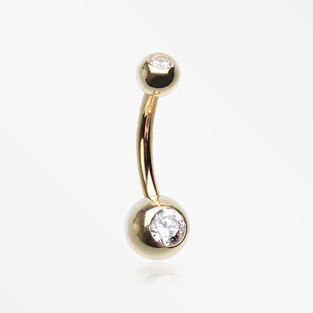 14 Karat Gold Gem Ball Belly Button Ring-Clear
