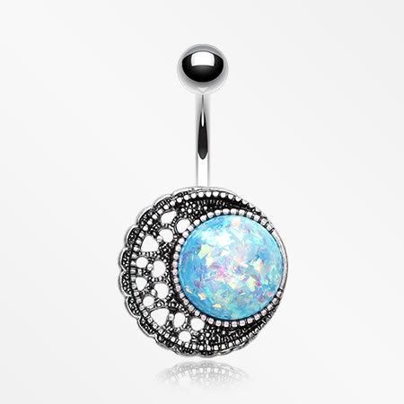 Vintage Boho Opal Filigree Moon Sparkle Belly Button Ring-Blue