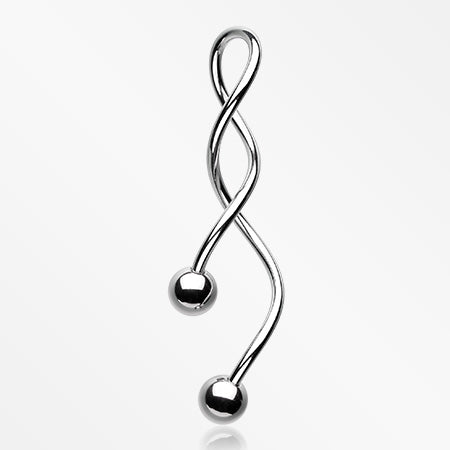 Basic Steel Twister Spiral Belly Button Ring-Steel