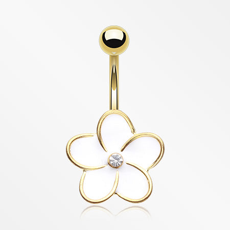 Golden Plumeria Belly Button Ring-Clear