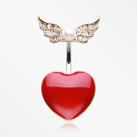 Golden Angel Heart Belly Button Ring-Clear