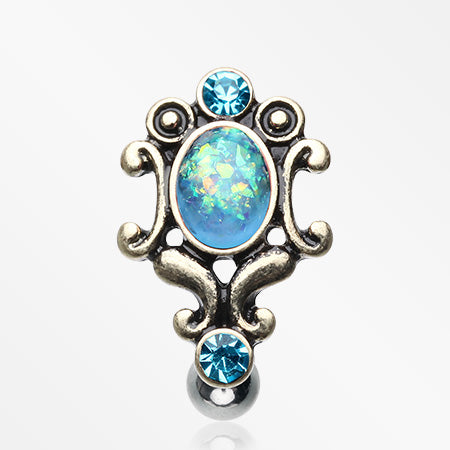 Vintage Victorian Opal Hinged Reverse Belly Button Ring-Aqua