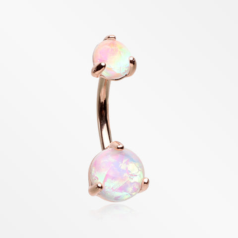 Rose Gold Prong Set Iridescent Unicorn Revo Belly Button Ring-White