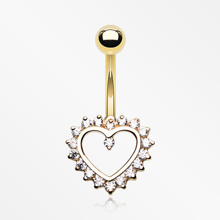 14 Karat Gold Sparkle Rays Heart Belly Button Ring-Clear