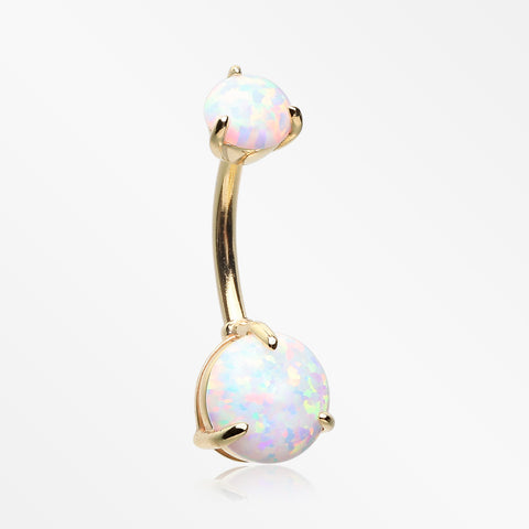 14 Karat Gold Fire Opal Prong Set Belly Button Ring