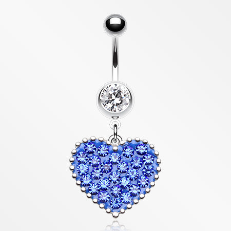 Sparkle Heart Crystal Belly Button Ring-Clear/Blue