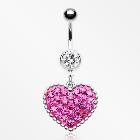 Sparkle Heart Crystal Belly Button Ring-Clear/Fuchsia