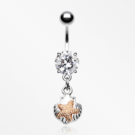 Vintage Starfish Shell Belly Button Ring-Clear