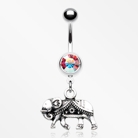 Indian Elephant Walk Belly Button Ring-Aurora Borealis
