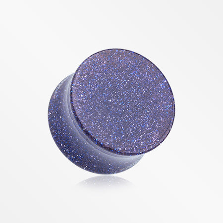A Pair of Glitter Shimmer Acrylic Double Flared Ear Gauge Plug-Blue
