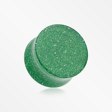 A Pair of Glitter Shimmer Acrylic Double Flared Ear Gauge Plug-Green