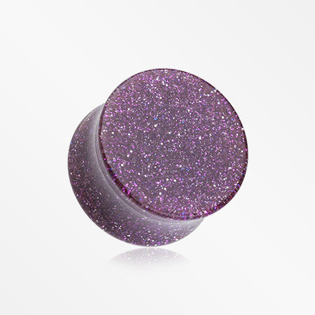 A Pair of Glitter Shimmer Acrylic Double Flared Ear Gauge Plug-Purple