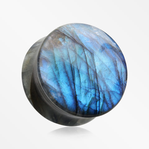 A Pair Of High Grade Labradorite Concave Stone Double Flared Plug