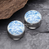 A Pair of Vintage China Floral Glow In The Dark Ear Gauge Plug-Blue/Aqua