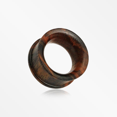 A Pair of Organic Sono Wood Ear Gauge Tunnel Plug-Orange/Brown