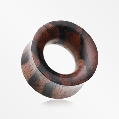A Pair of Organic Zebrawood Double Flared Ear Gauge Tunnel Plug-Orange/Brown