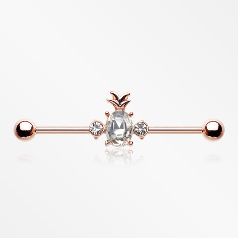 Rose Gold Adorable Pineapple Sparkle Industrial Barbell-Clear
