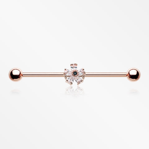 Rose Gold Dainty Flower Sparkle Dazzle Industrial Barbell-Clear
