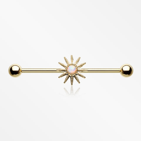 Golden Fire Opal Sunburst Sparkle Industrial Barbell-White Opal