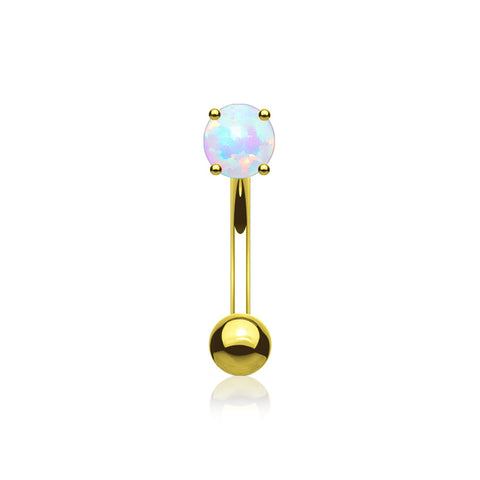 Golden Fire Opal Prong Set Sparkle Curved Barbell-White Opal