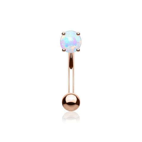 Rose Gold Fire Opal Prong Set Sparkle Curved Barbell-White Opal