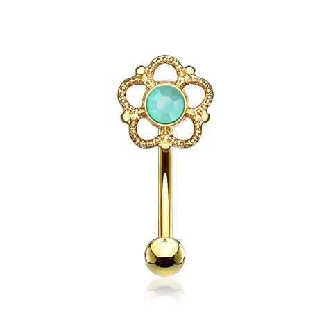 Golden Bali Turquoise Filigree Flower Curved Barbell