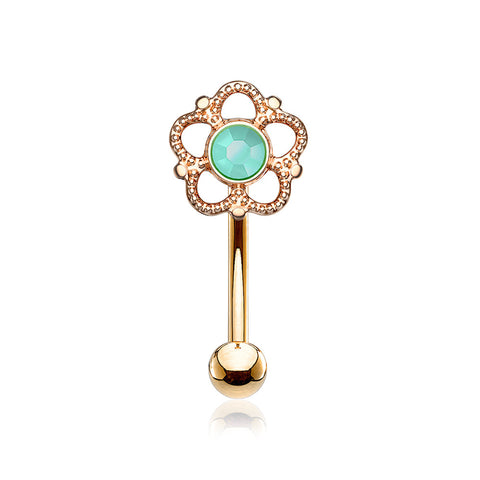 Rose Gold Bali Turquoise Filigree Flower Curved Barbell