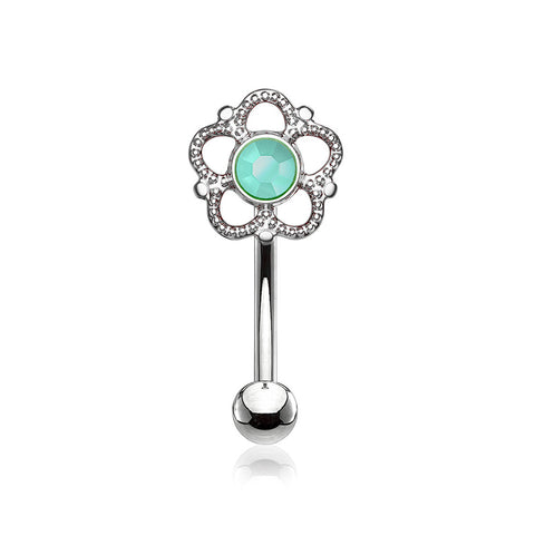 Bali Turquoise Filigree Flower Curved Barbell