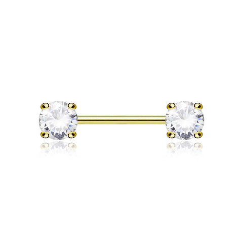 A Pair of 14 Karat Gold Prong Set Gem Sparkle Nipple Barbell-Clear