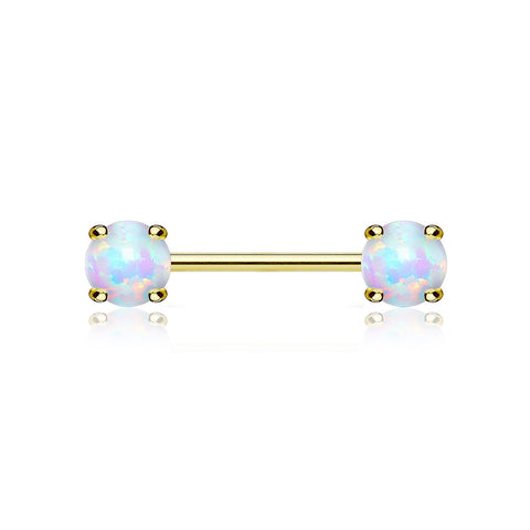 A Pair of 14 Karat Gold Prong Set Fire Opal Sparkle Nipple Barbell-White Opal