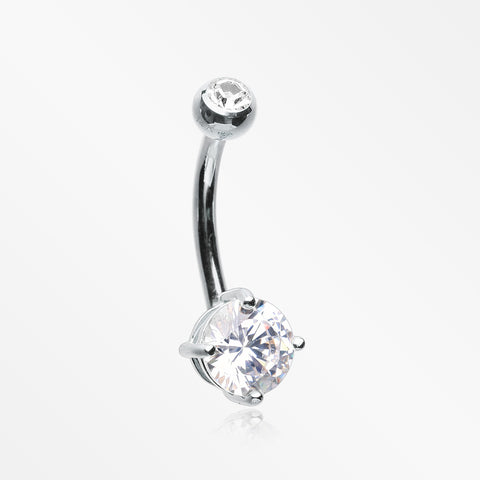 14 Karat White Gold Prong Set Gem Belly Button Ring-Clear