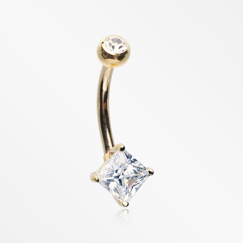 14 Karat Gold Prong Set Princess Cut Gem Belly Button Ring-Clear