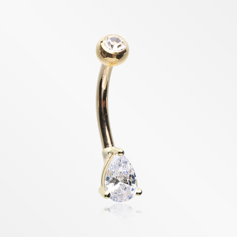 14 Karat Gold Prong Set Teardrop Gem Belly Button Ring-Clear